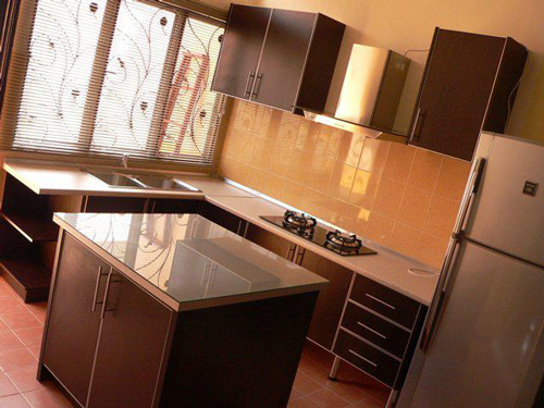 L-Shaped Kitchen Cabinet with Island